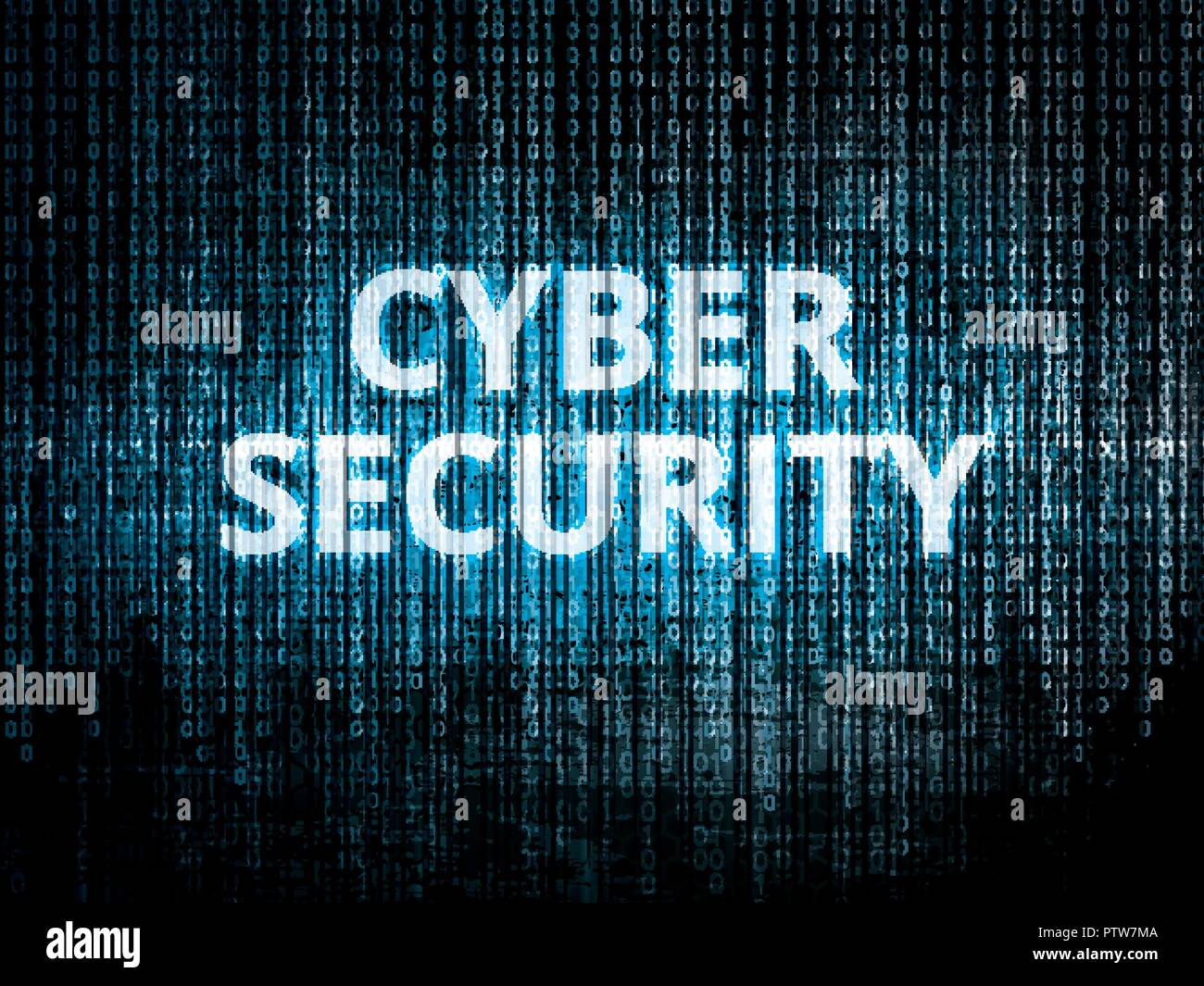 Binary code in background, encrypted data protected by security system and text Ciber security - Stock Image