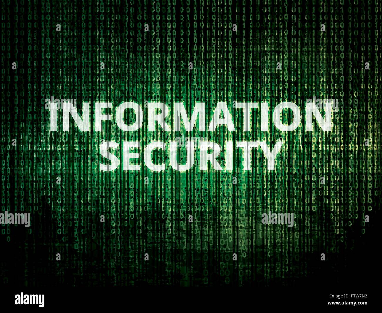 Binary code in background, encrypted data protected by security system and text information security - Stock Image