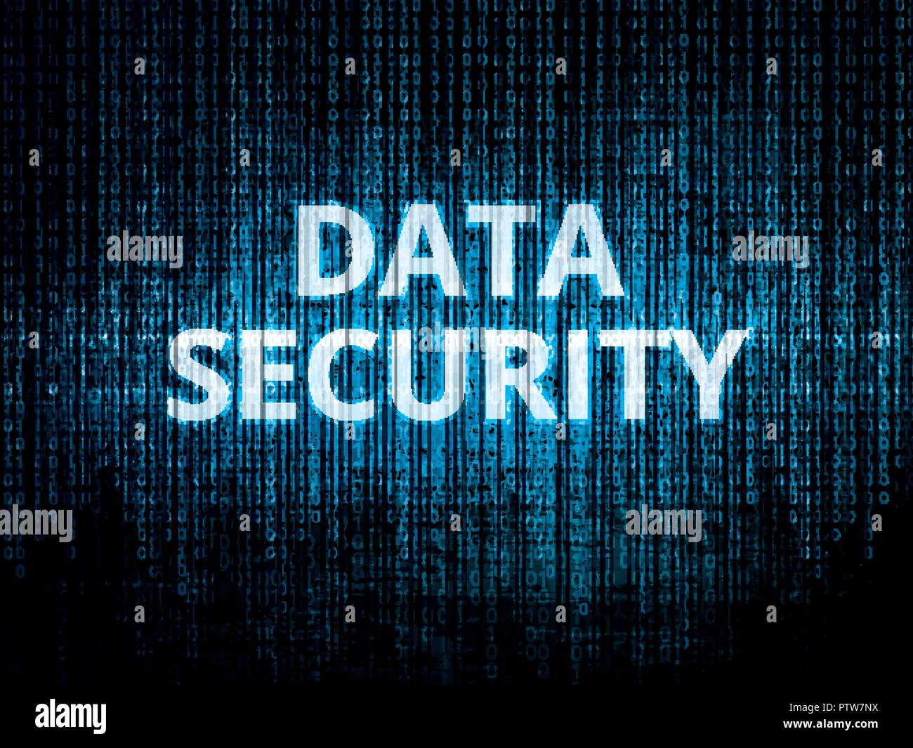 Binary code in background, encrypted data protected by security system and text data security - Stock Image