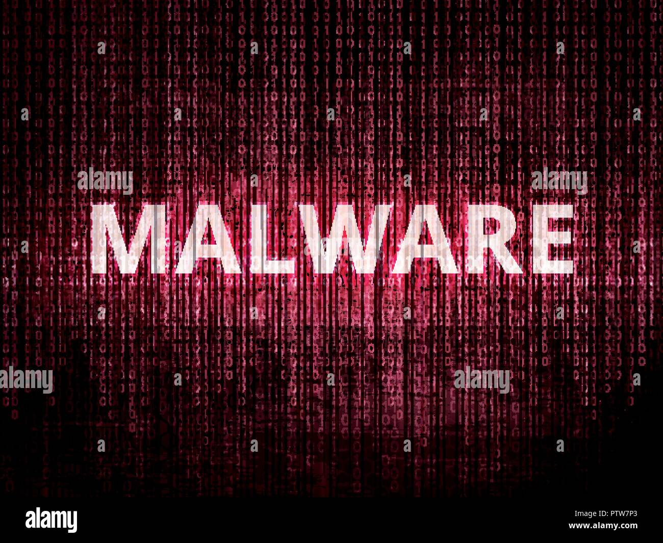 Text malware on background with binary encoding in red.  Concept of invasion of privacy, hacker attack, computer attack by virus, ransomware, malware  - Stock Vector