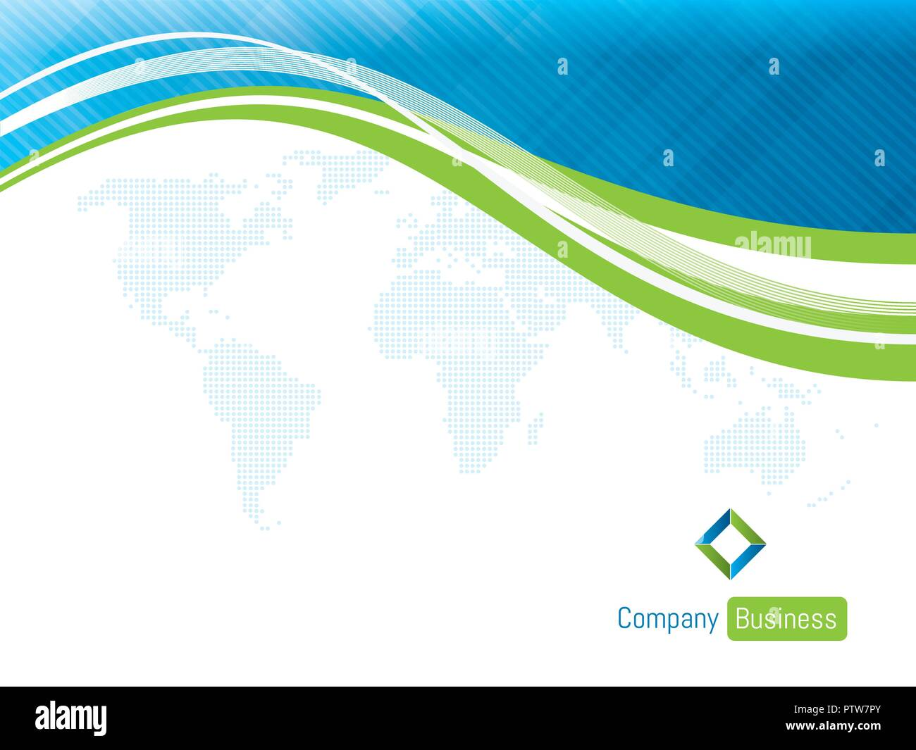 Background template business blue with world map. Concept of presentation business presentation with shapes on blue waves with white background in vec - Stock Image