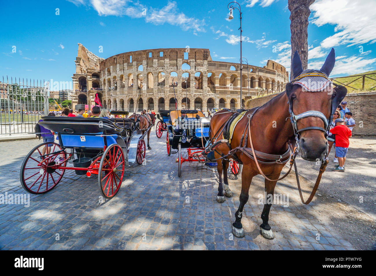 horse-drawn carriages await fares the Colosseum, the largest Roman amphitheatre ever built and one of Rome's most iconic tourist attractions - Stock Image
