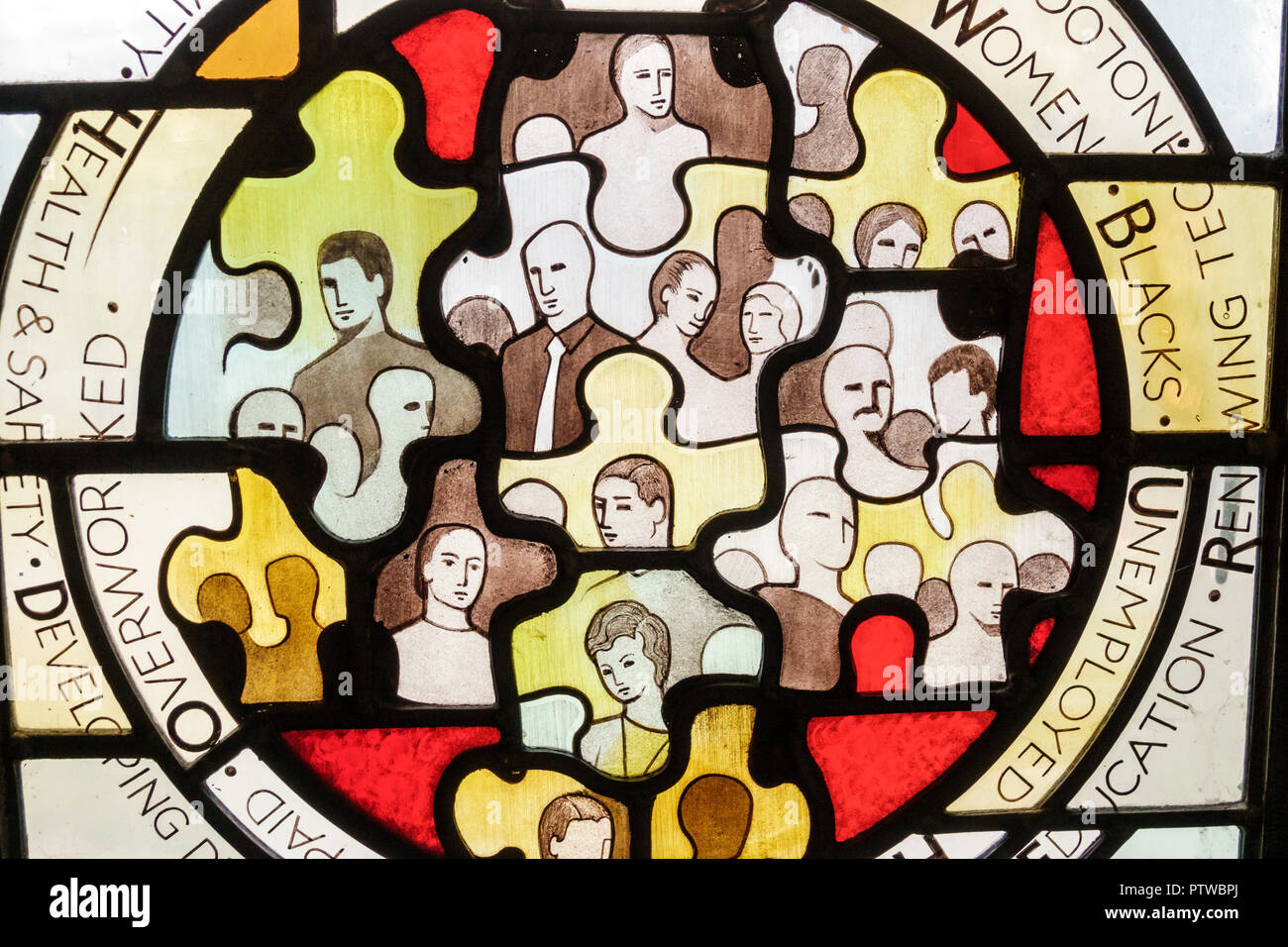 London England United Kingdom Great Britain Southwark Christ Church Anglican church stained glass window community subject matter modern - Stock Image