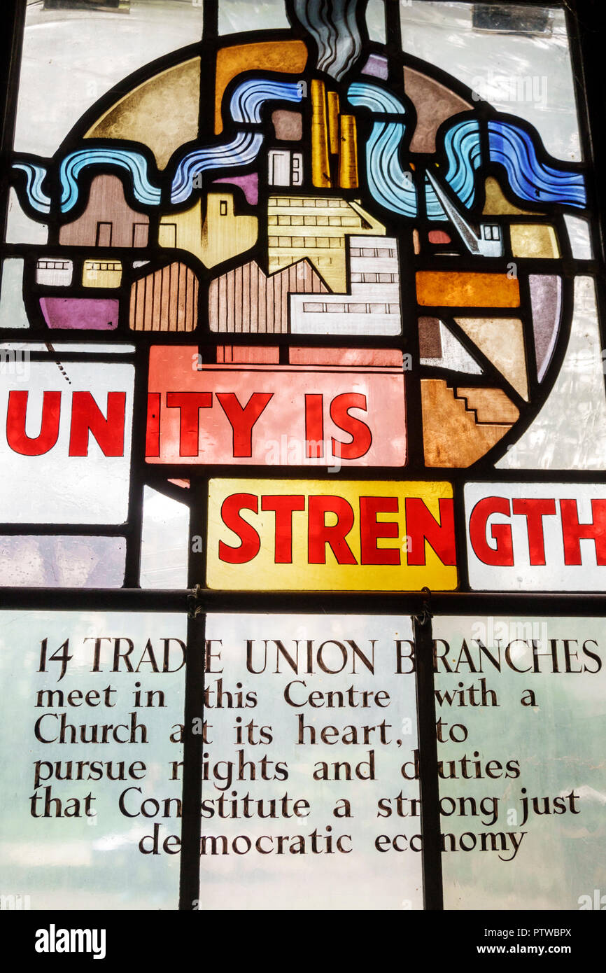 London England United Kingdom Great Britain Southwark Christ Church Anglican church stained glass window community subject matter modern trade unions - Stock Image
