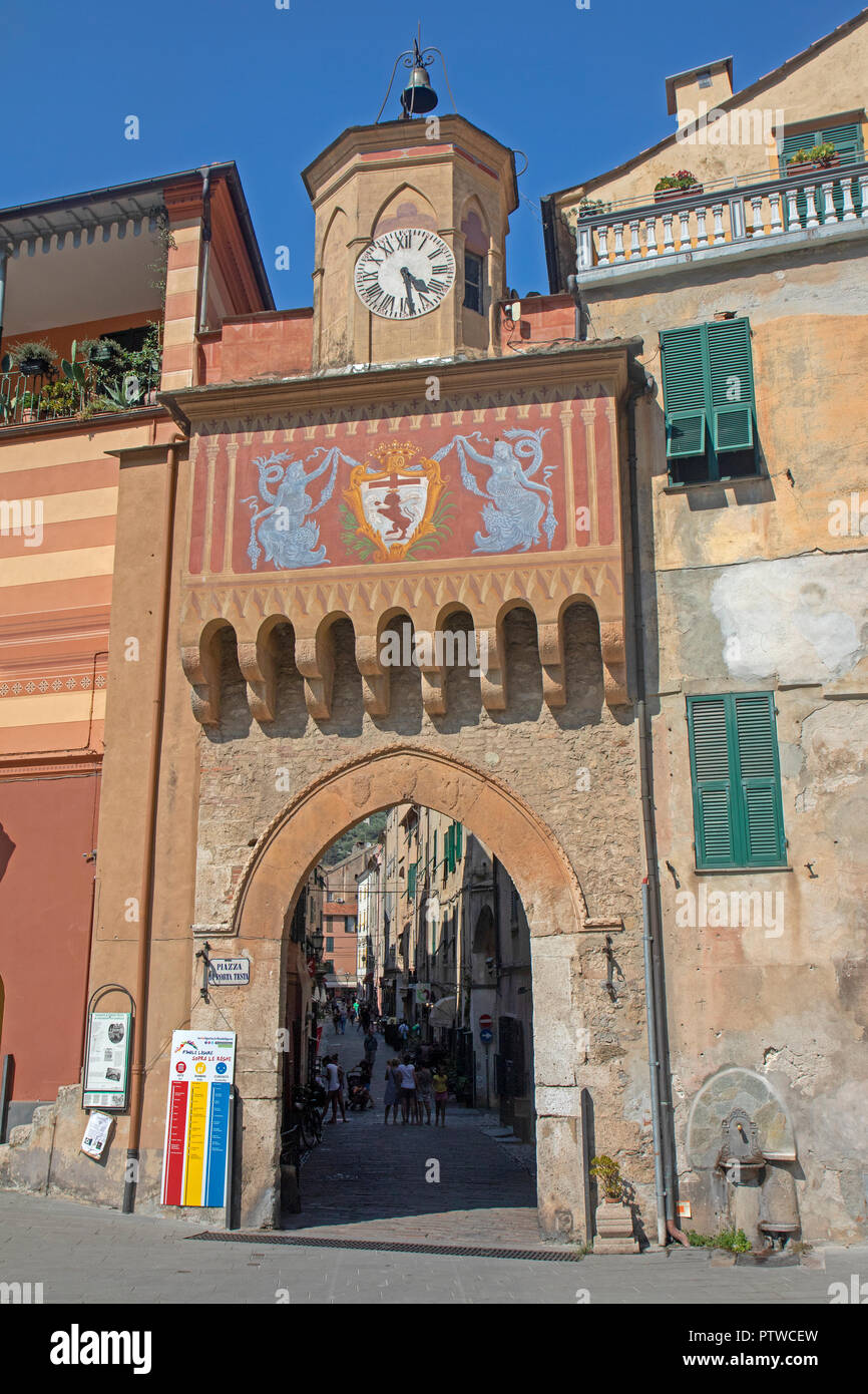 Gateway into Finalborgo, the old town of Finale Ligure Stock Photo