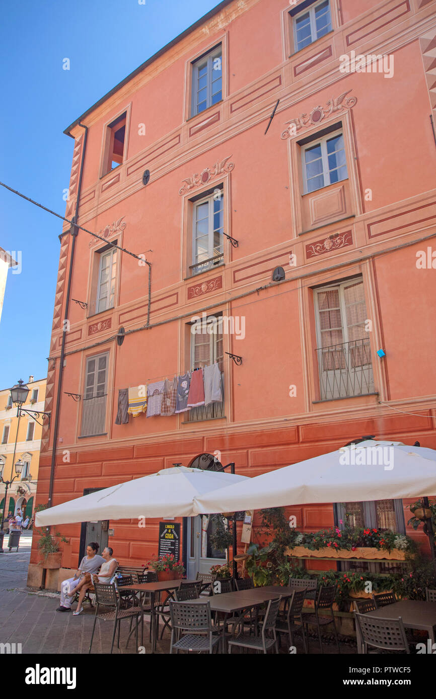 Cafe in Finalborgo, the old town of Finale Ligure - Stock Image
