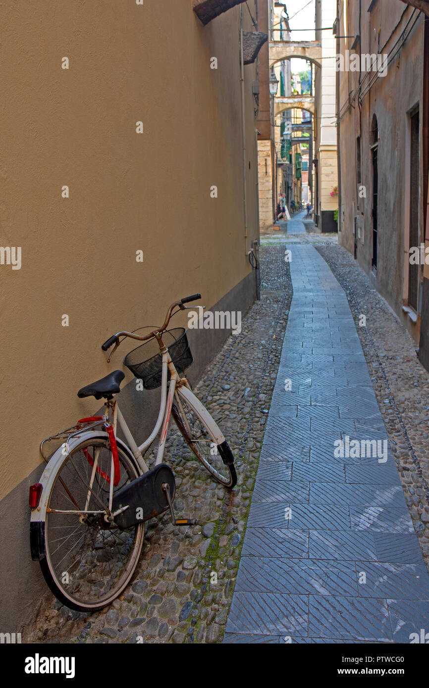 Lane in Finalborgo, the old town of Finale Ligure - Stock Image