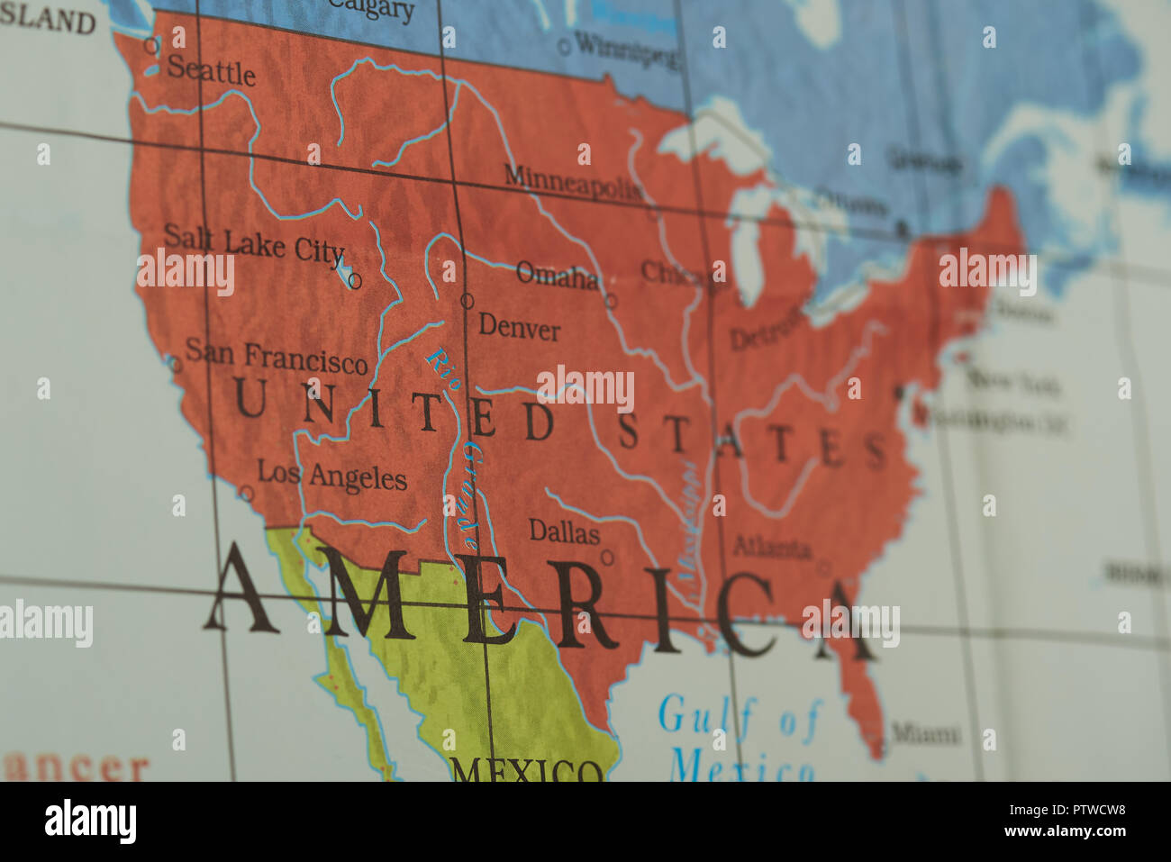 United States Territory Country On Paper Map Close Up View Stock - Us-map-close-up