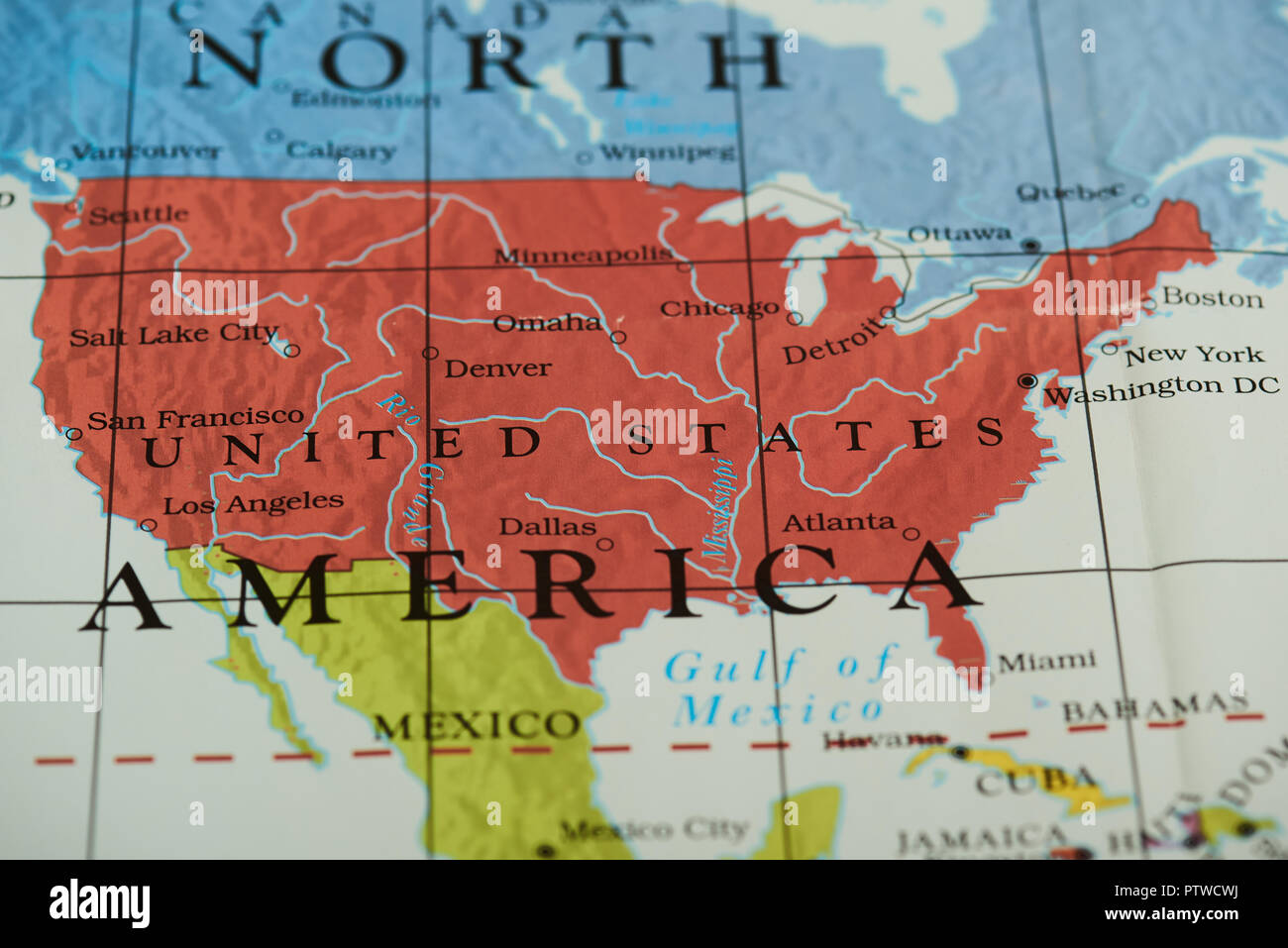 View Map Of United States.United States Country On Paper Map Close Up View Stock Photo