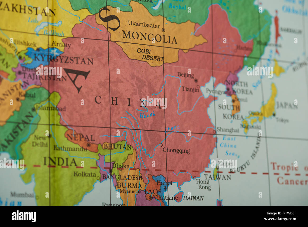 Picture of: China Country On Paper Map Close Up View Stock Photo Alamy