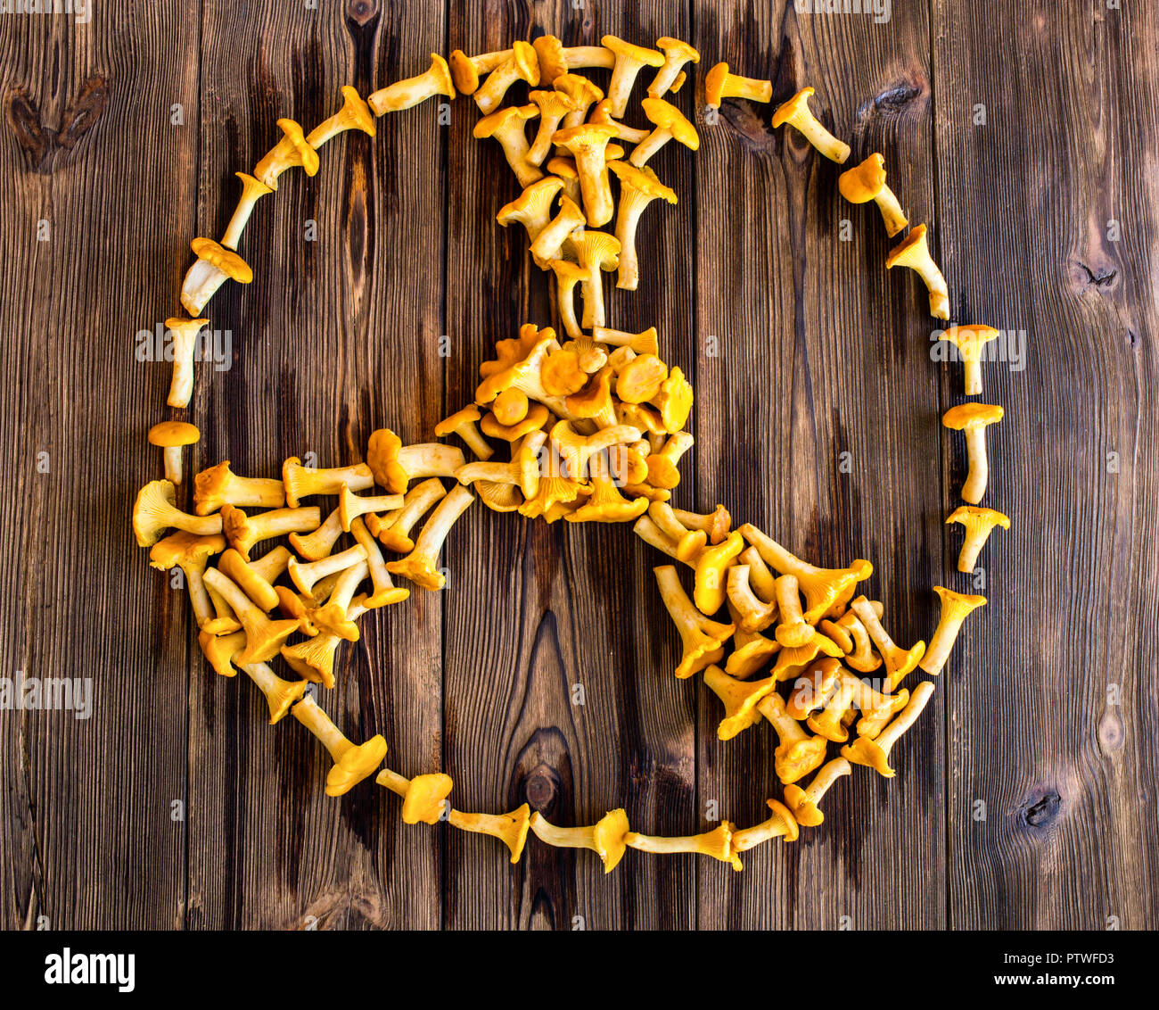 Radiation sign mushrooms chanterelles on a wooden background, fungi and radiation, fungus - Stock Image