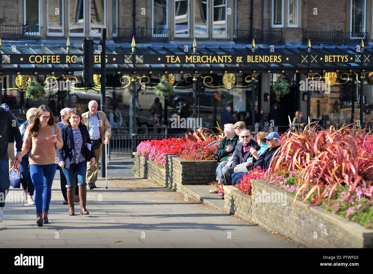 Autumn in Harrogate near Betty's Cafe Yorkshire England - Stock Image