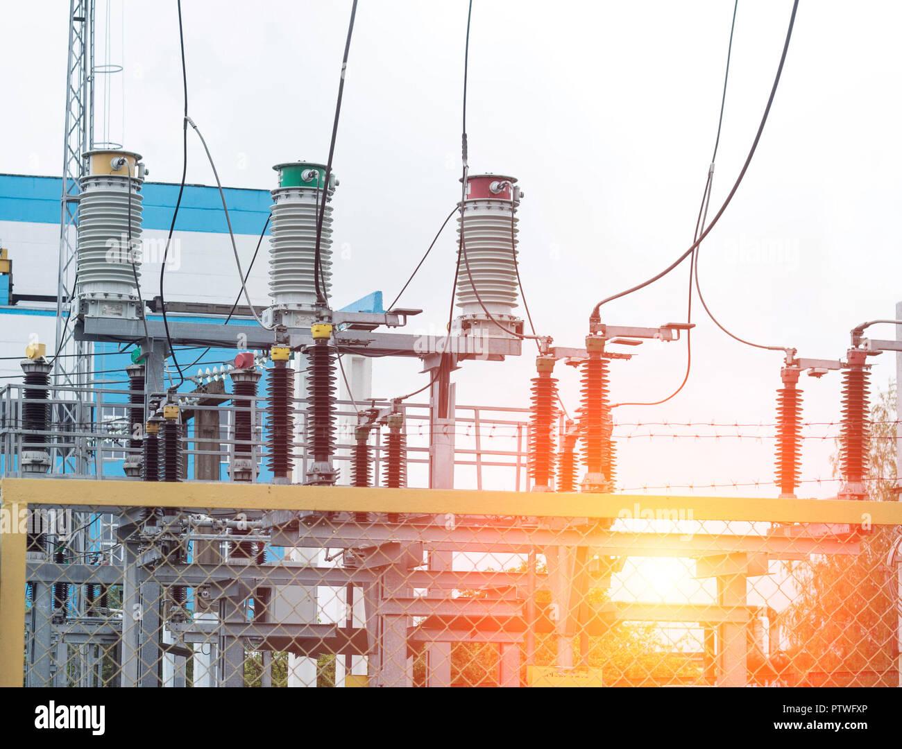 Power transformer in high voltage switchyard in modern