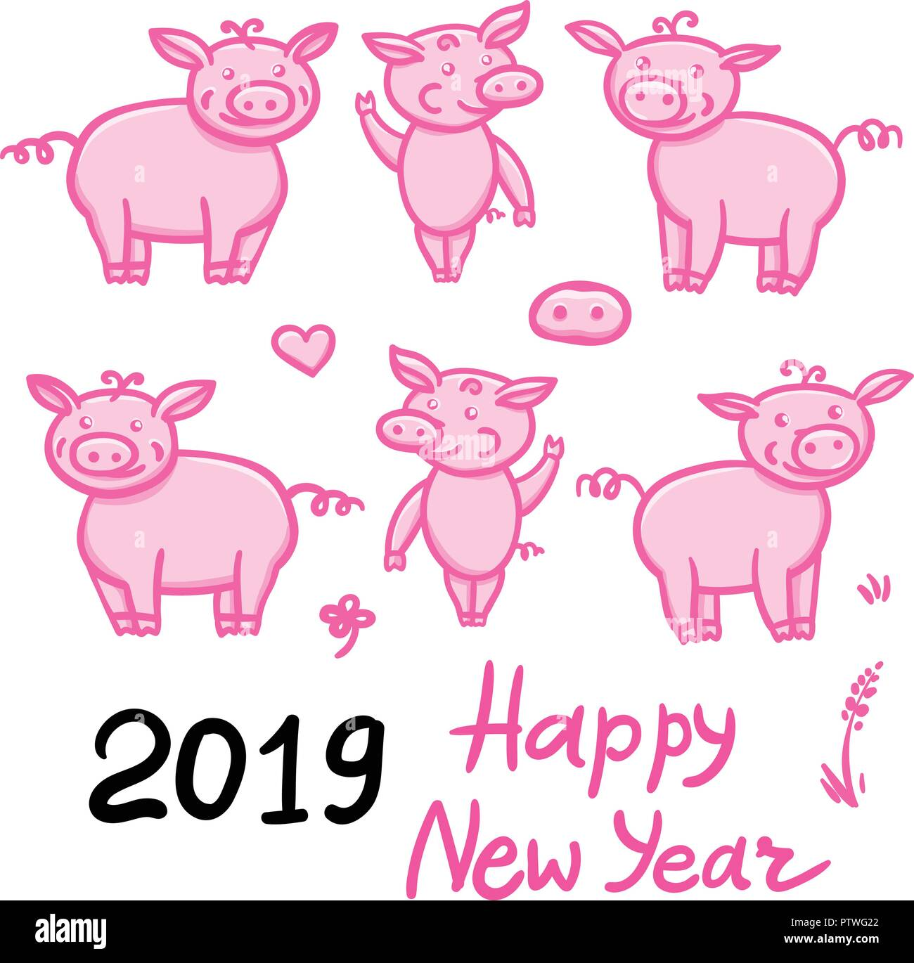 Set Of Pigs Pink Cute Doodle Pencil Hand Drawing Inscription Happy