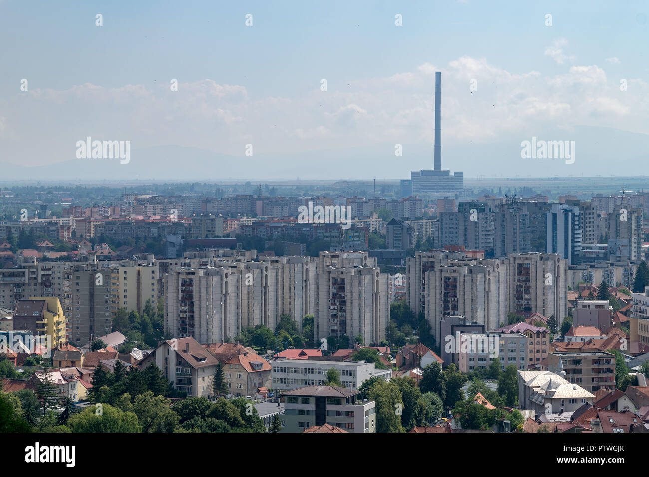 View to Brasov residential and industrial area from above in Brasov, Romania. - Stock Image