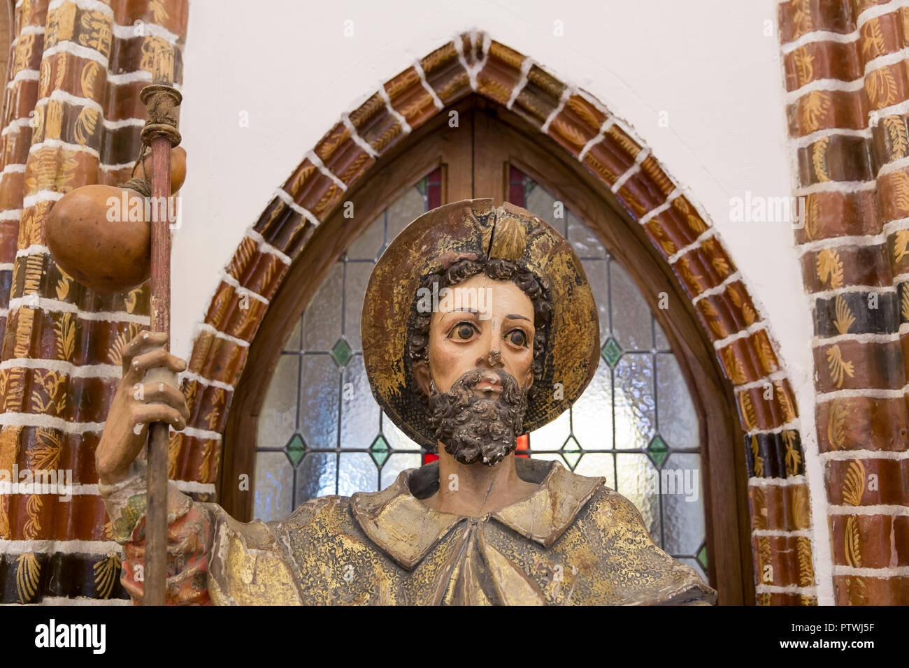 Astorga, Spain: 17th century statue of Saint James as a Jacobean pilgrim (Santiago Peregrino) at El Museo de los Caminos in the Episcopal Palace of As - Stock Image