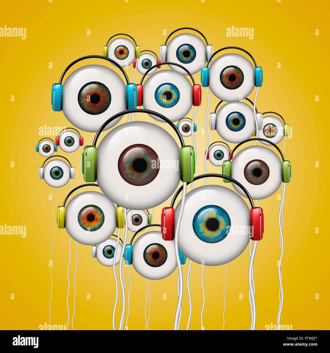 Eyeballs with headphones, digital image - Stock Image