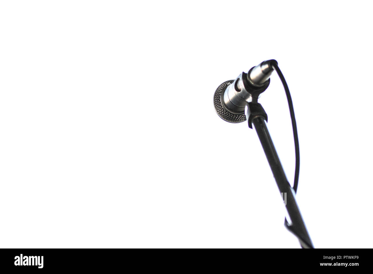 Close up of microphone and mic stand. - Stock Image