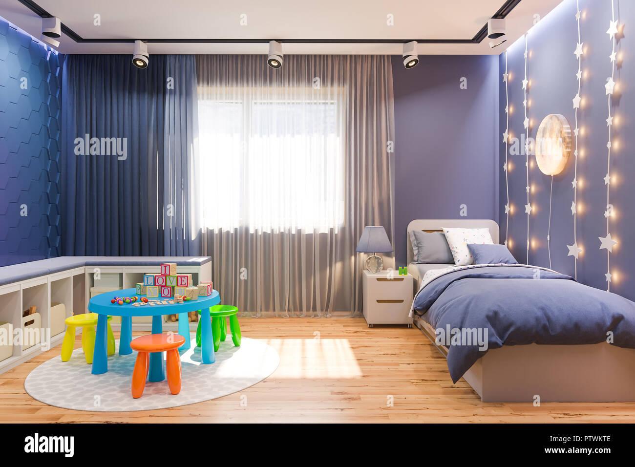 3d illustration of the kids bedroom in deep blue color ...