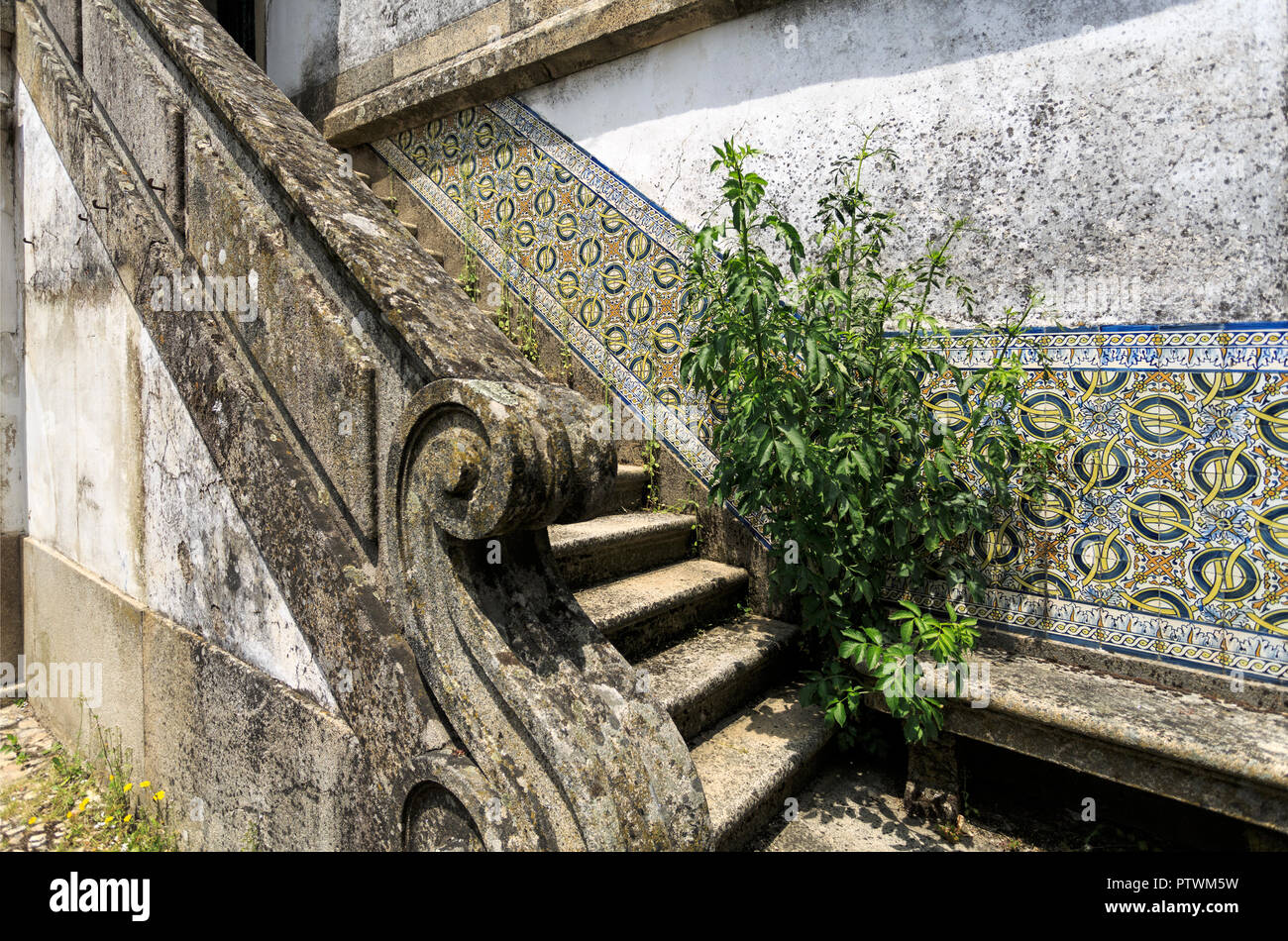 Detail Of A Beautiful Granite Stone Staircase With Decorating Tiles