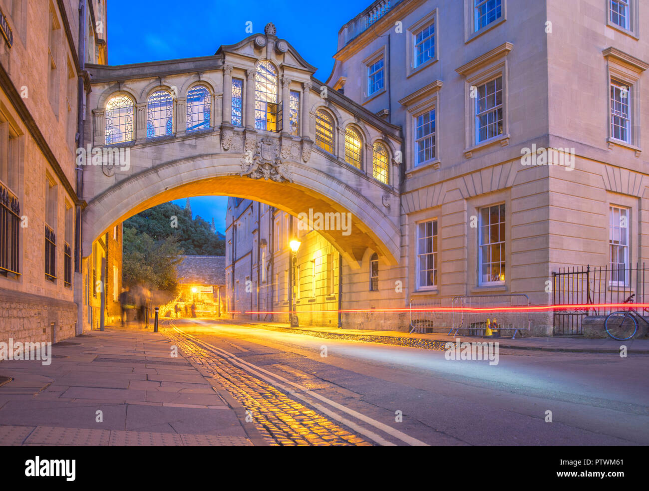 Hertford Bridge, Oxford University  'the Bridge of Sighs', is a skyway joining two parts of Hertford College over New College Lane in Oxford, England. - Stock Image