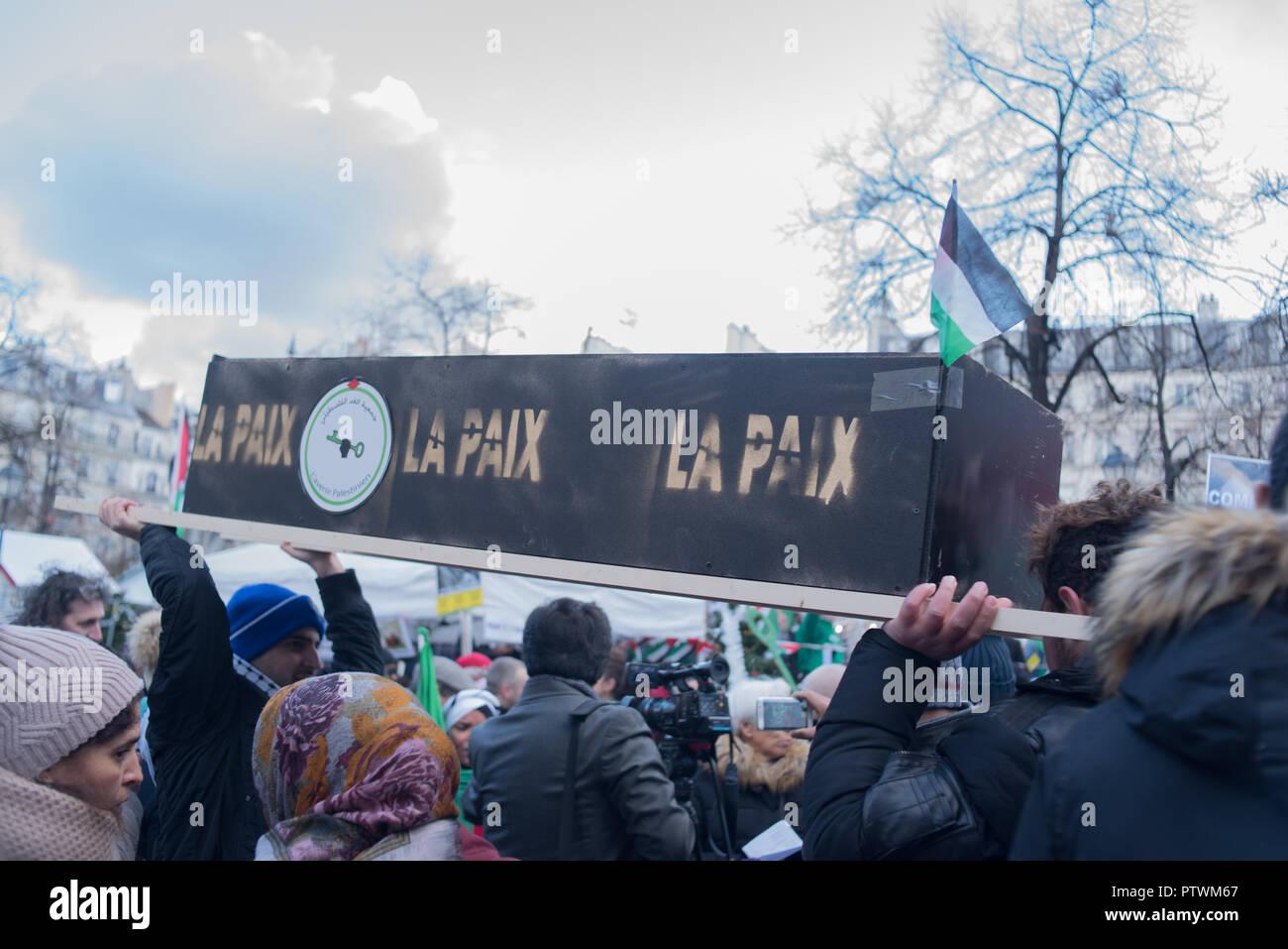 Paris: Rally for Palestine - Stock Image