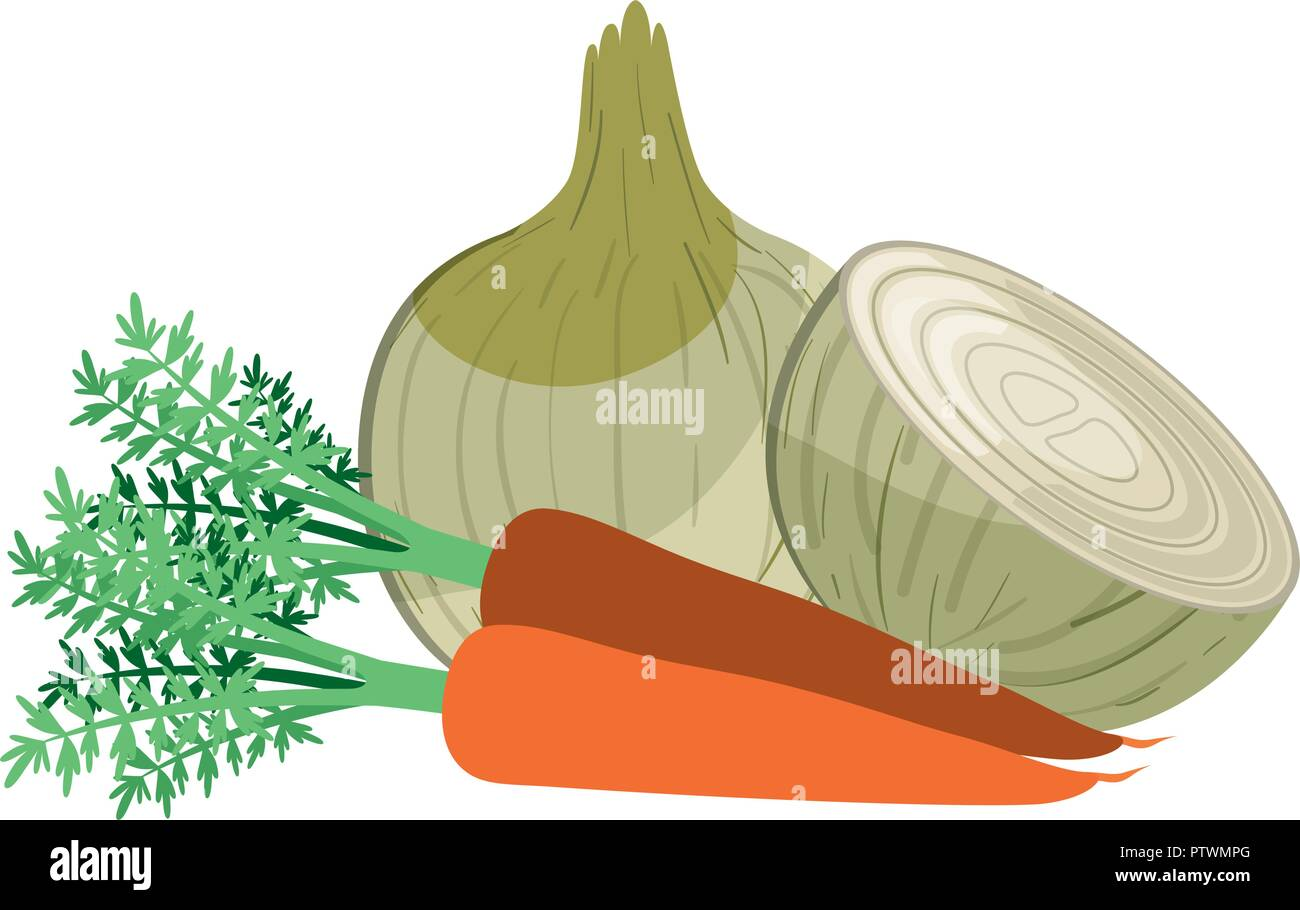 beautiful fresh red egg carrot and onion isolated icon - Stock Vector