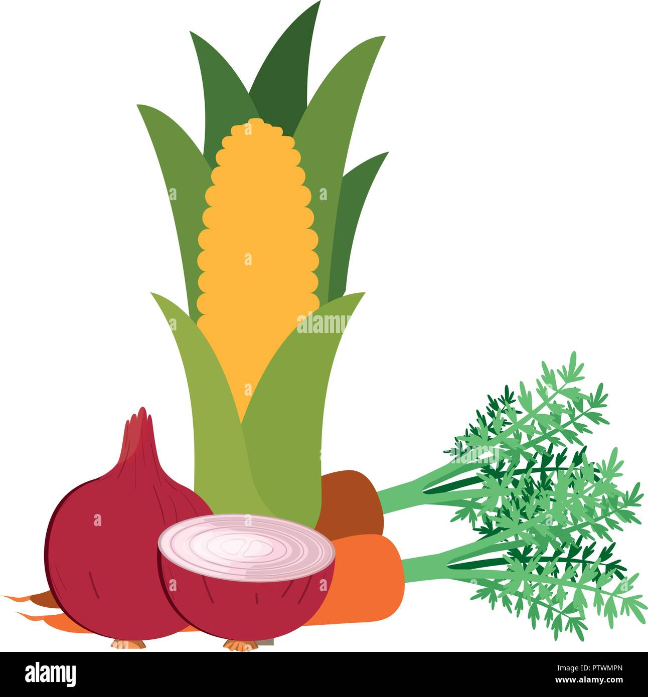 beautiful fresh vegetables isolated icon - Stock Vector