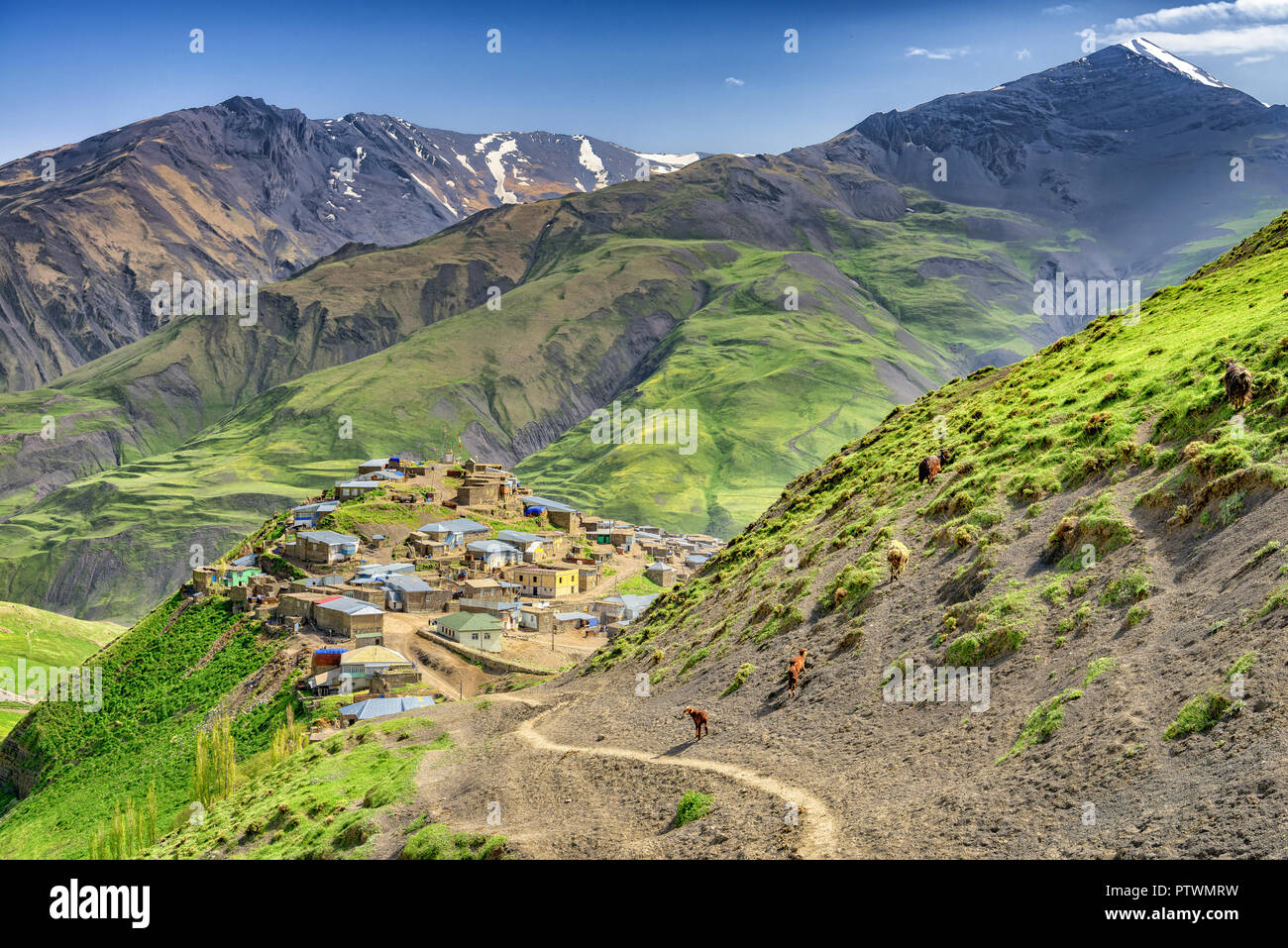 Azerbaijan landscape of nature, Beautiful mountains and hills in the north of Azerbaijan near Quba in the village Khinaluq - Stock Image