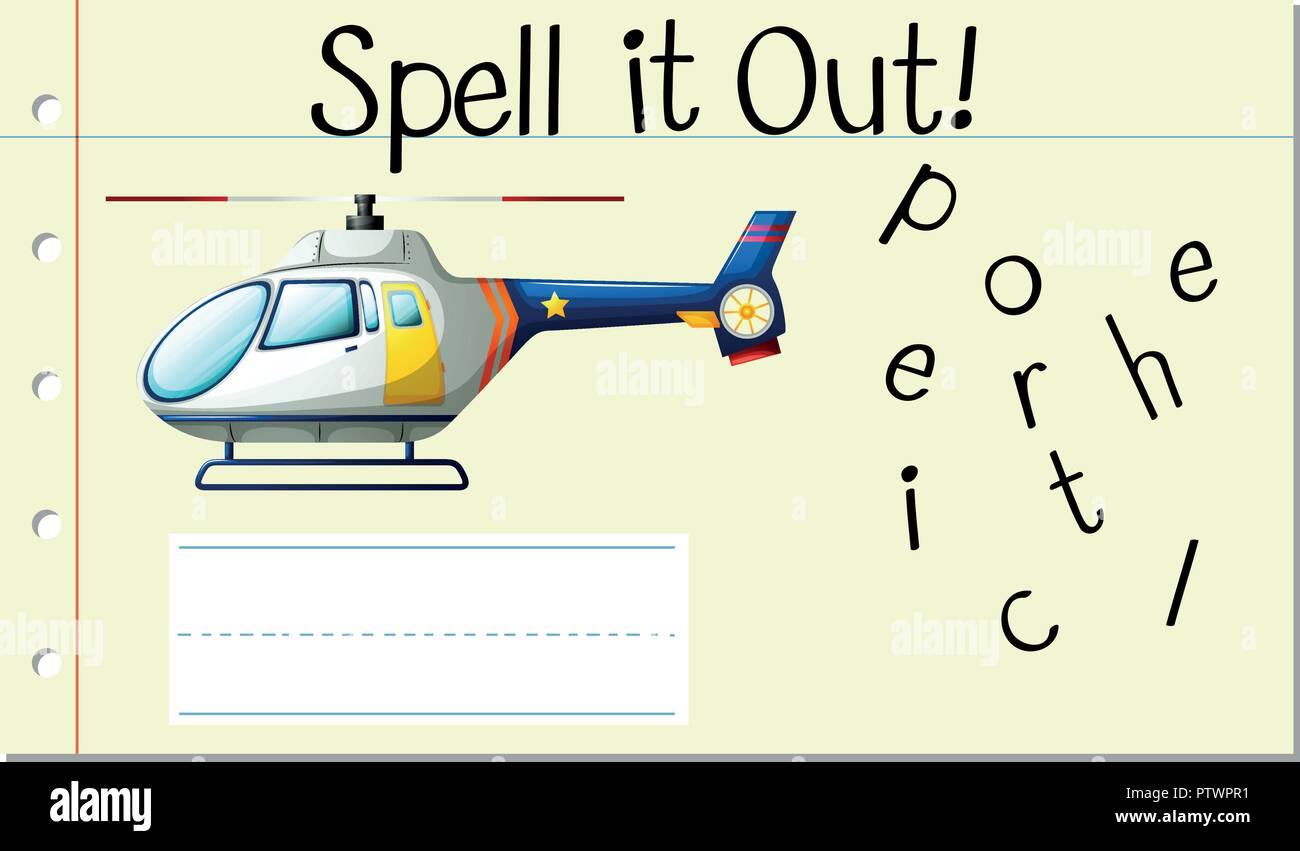 Spell English word helicopter illustration Stock Vector Art