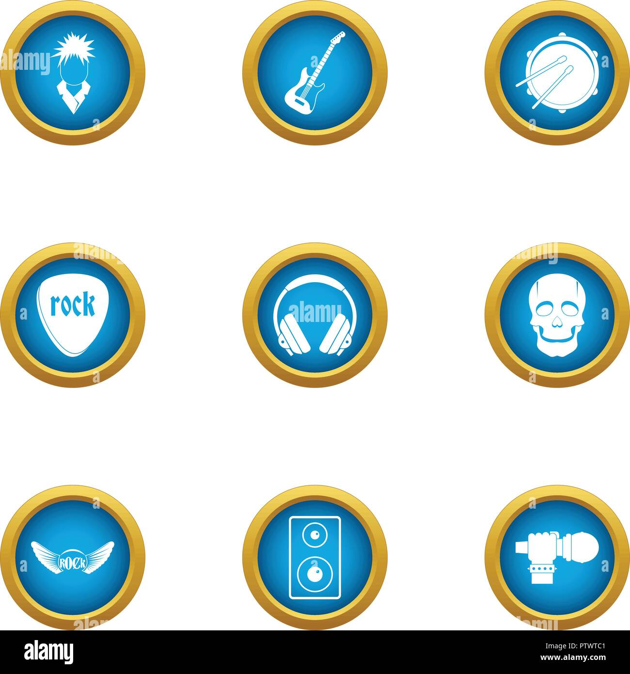 Rock playlist icons set, flat style - Stock Image