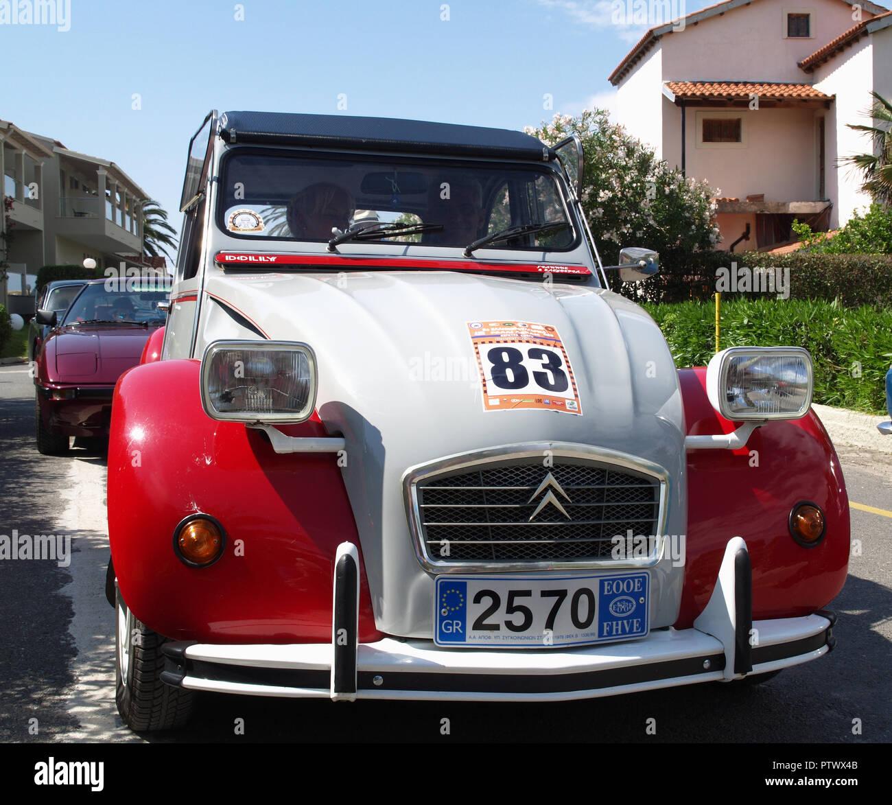 Vintage Citroen 2CV Dolly on display at the 8th Hellenic Bulgarian LEKAM classic car rally at the Acharavi Park Hotel, Acharavi, Corfu, Greece - Stock Image