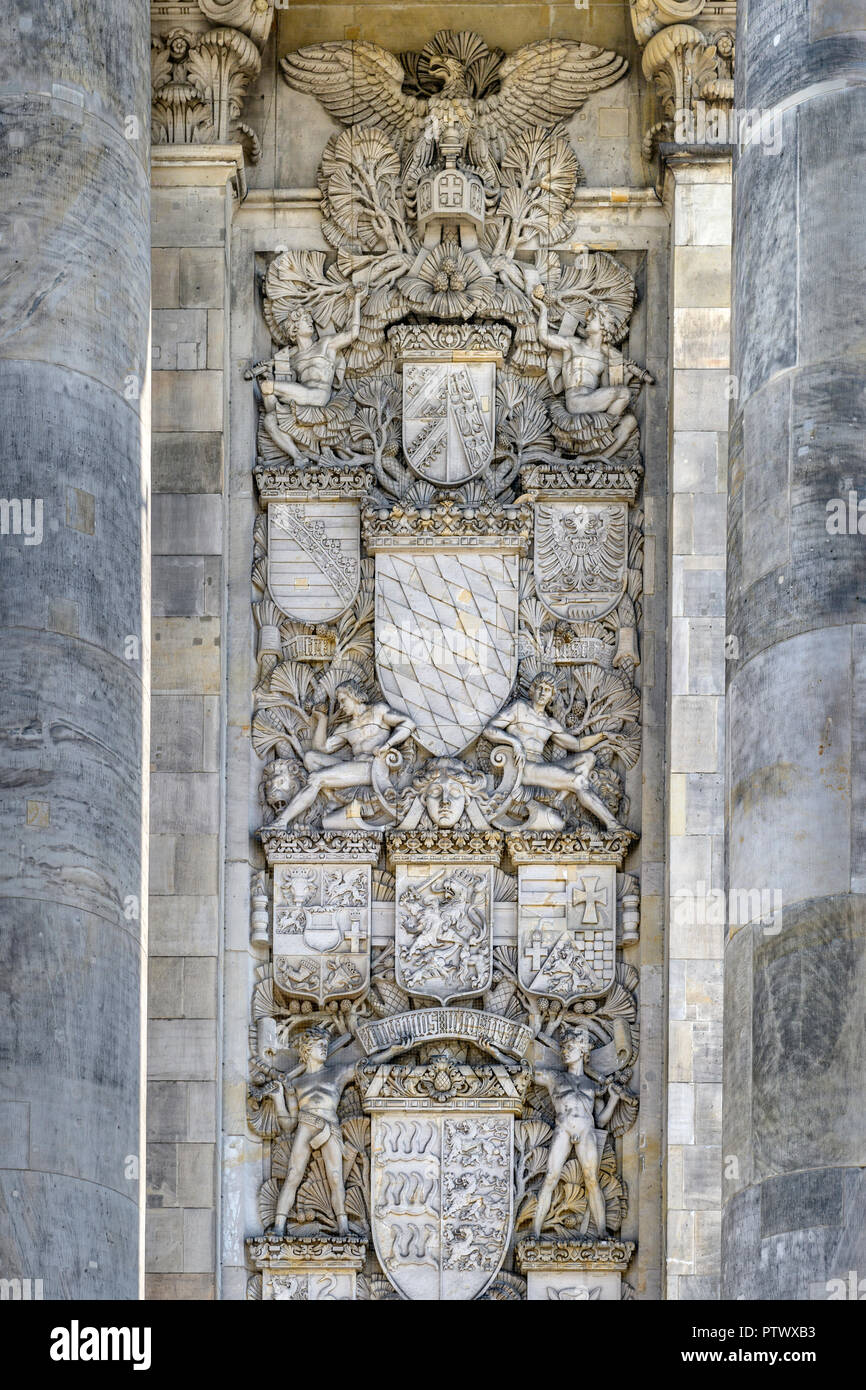 One of the impressive carvings to the side of the entrance to the Reichstag in Berlin, Germany. - Stock Image