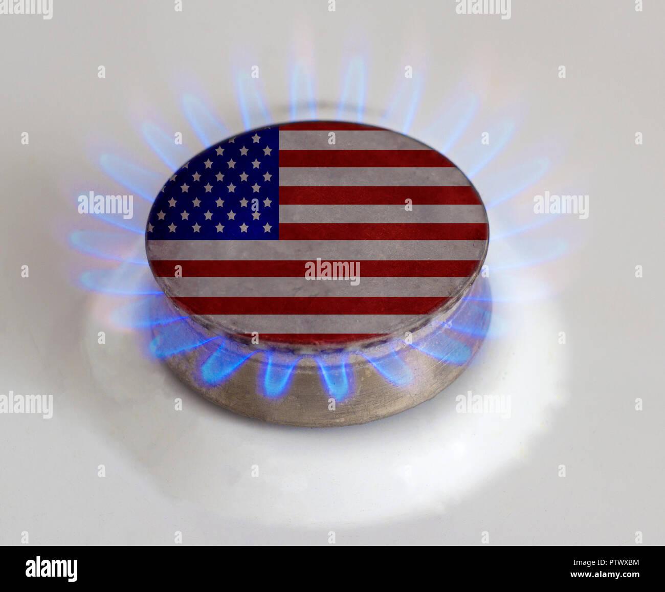 Gas burner with flag. USA.Gas - Stock Image