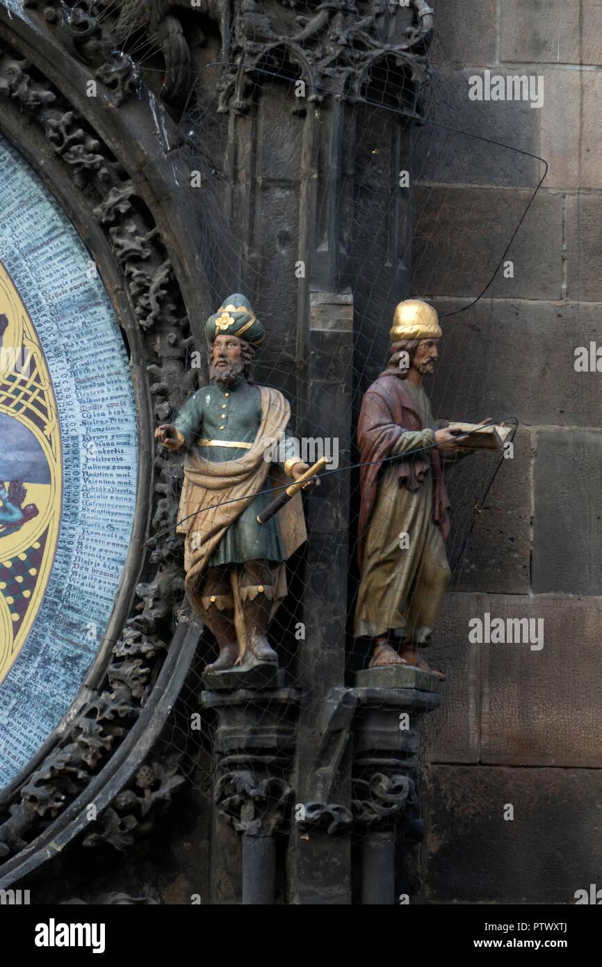 Stunning Medieval Astronomical Clock or Praha Orloj in Prague / Praha Czech Republic. - Stock Image