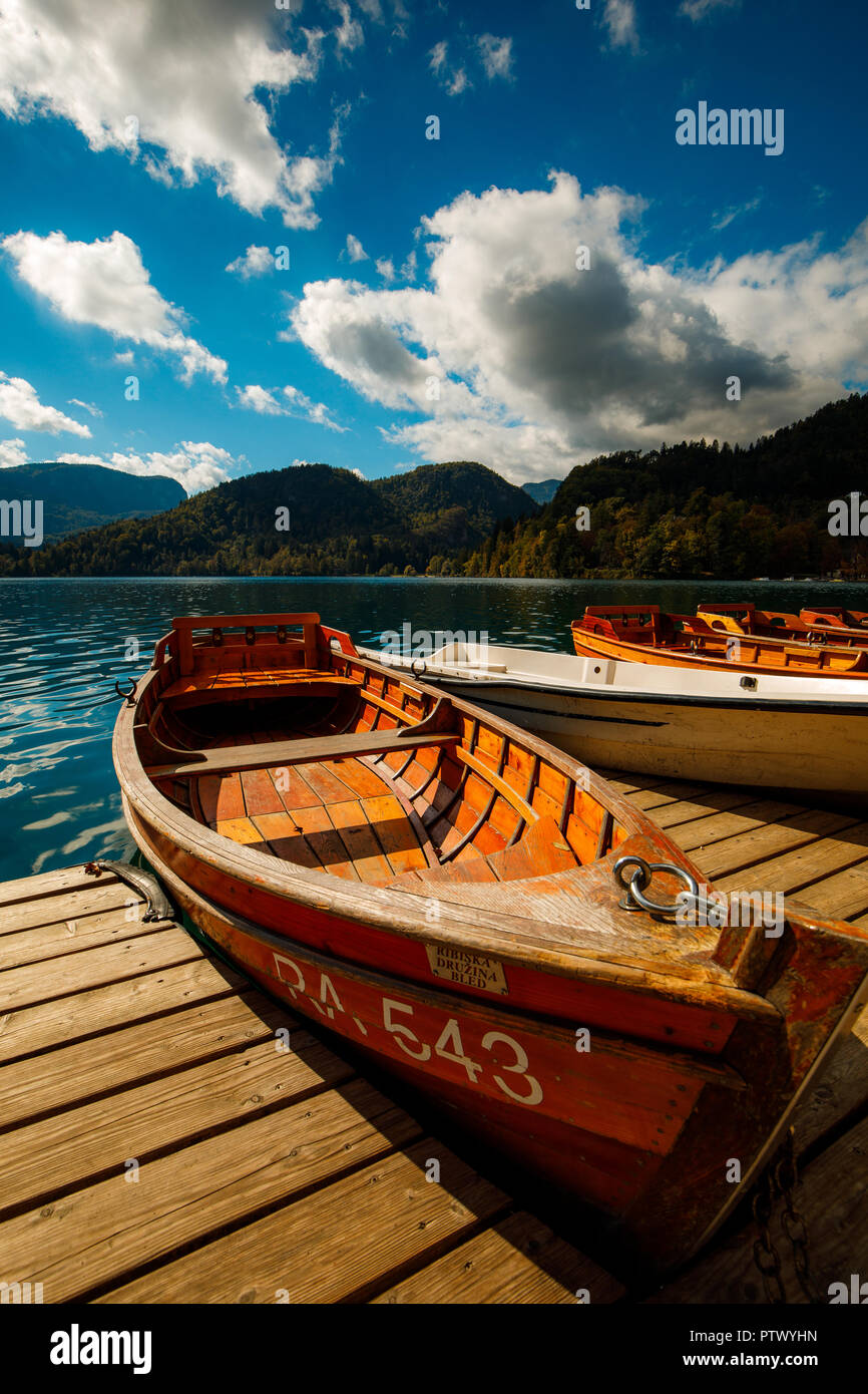 Boat at the Lake Bled in Slowenia - Stock Image