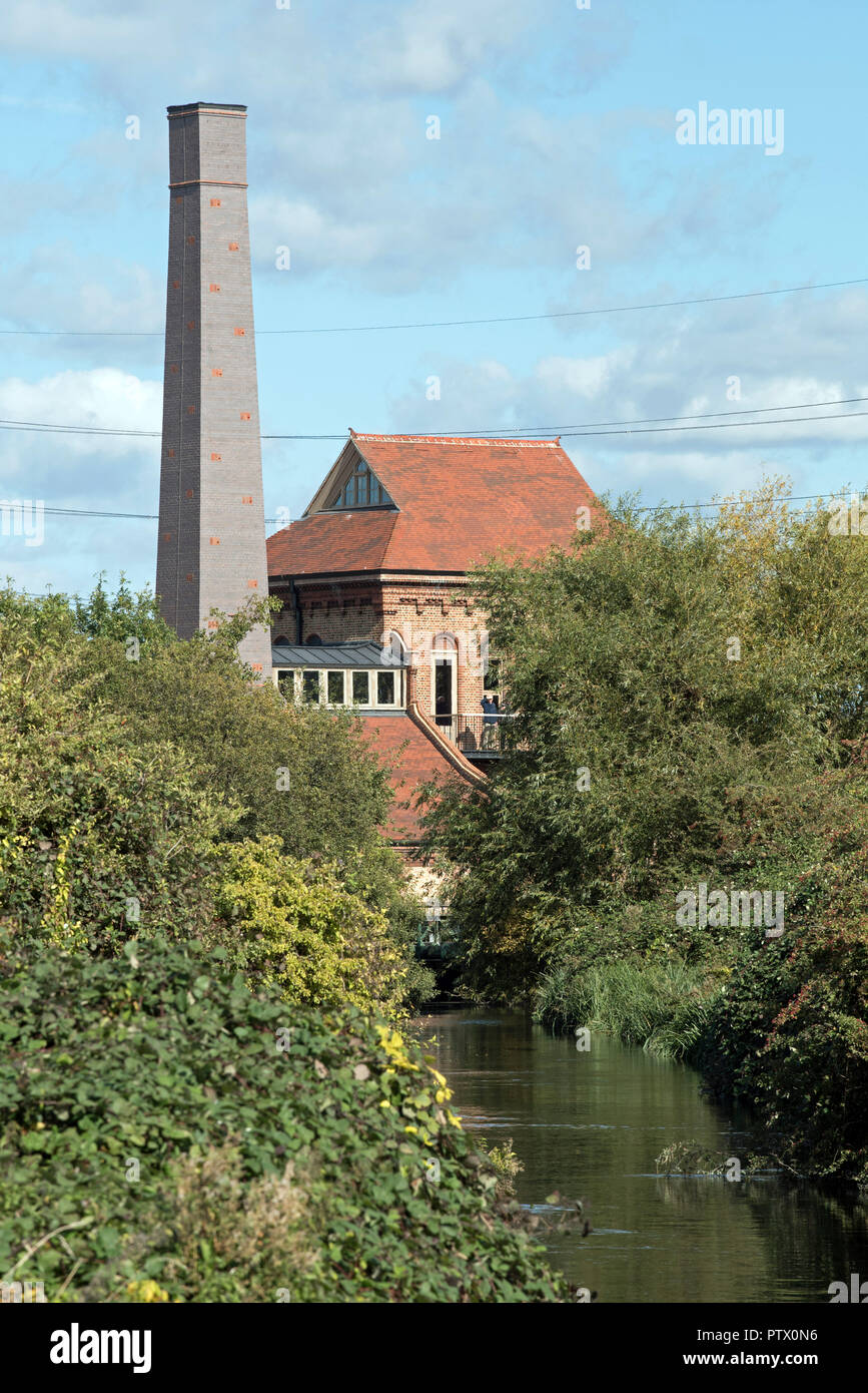 Walthamstow Wetlands, Marine Engine House, previously Ferry Lane pumping Station with Swift tower looking along Coppermill Stream London Borough of Walthams Forest England Britain UK Stock Photo