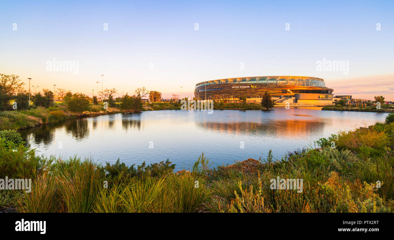 Optus Stadium surrounded by a lake and parkland. Perth, Western Australia - Stock Image