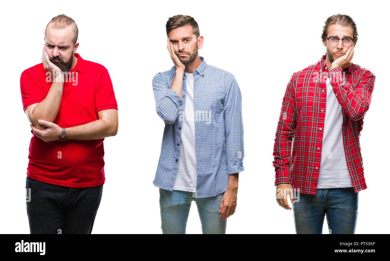 Collage of group of young men over isolated background thinking looking tired and bored with depression problems with crossed arms. Stock Photo
