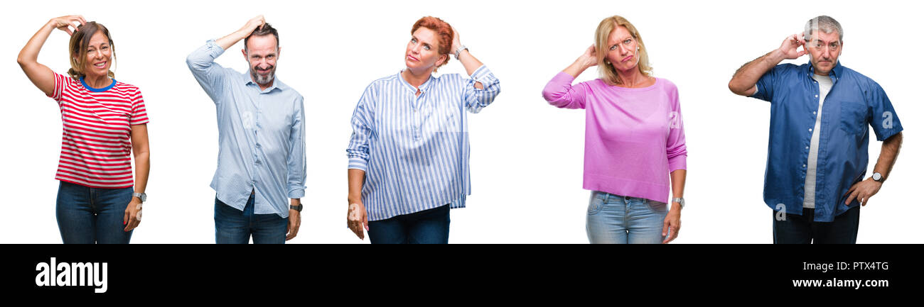Collage of group of middle age and senior people over isolated background confuse and wonder about question. Uncertain with doubt, thinking with hand  - Stock Image