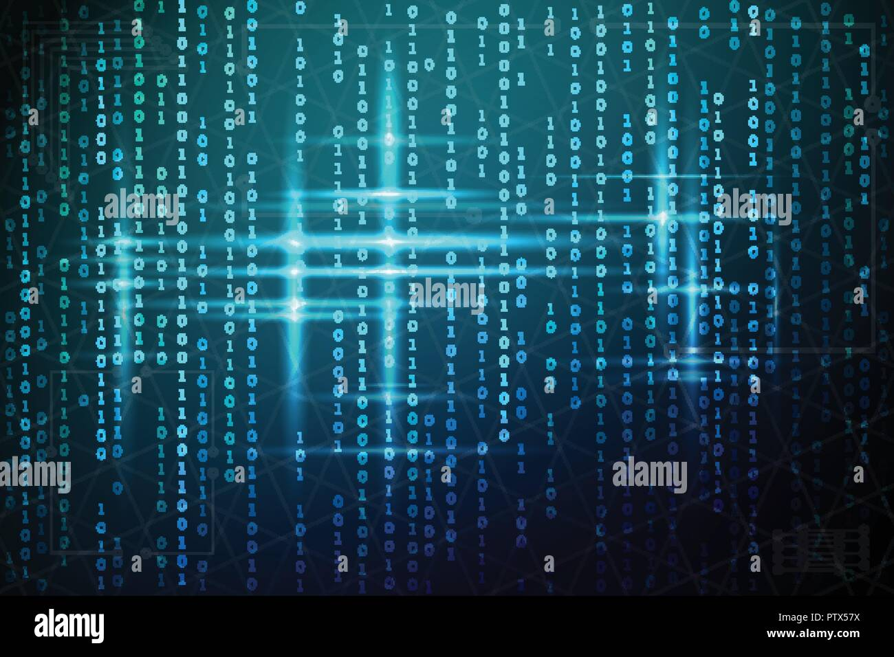 Abstract matrix background. Vector illustration. Binary code blue. Virtual technologies Stock Vector