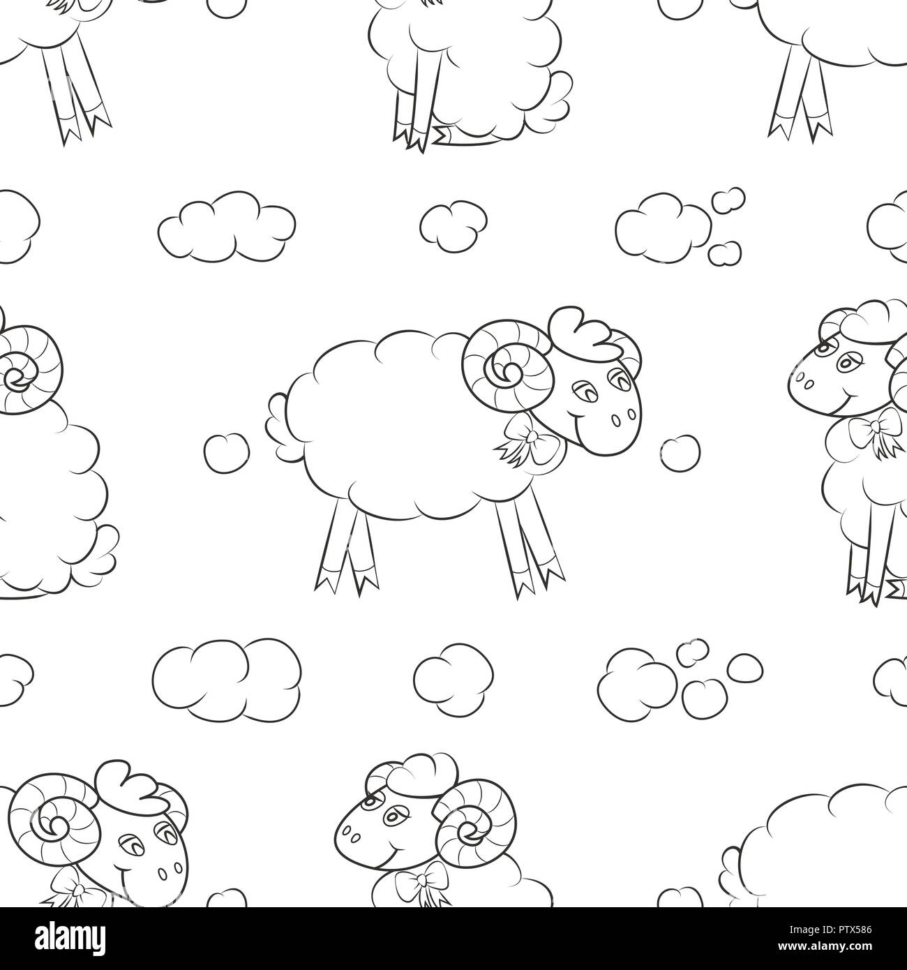 Fluffy sheep flying in the clouds. Baby Wallpaper. Vector illustration. - Stock Image