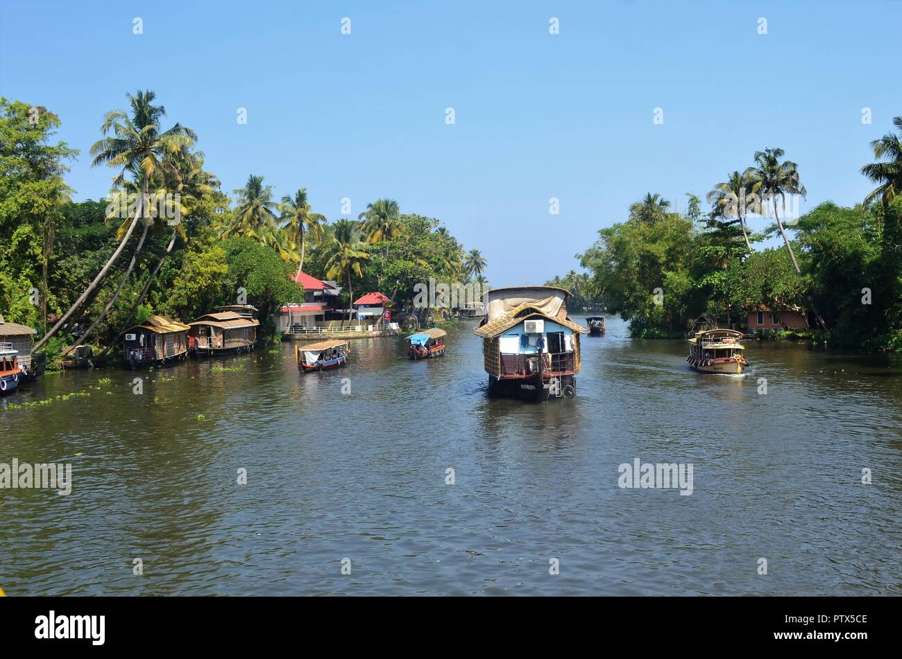 Houseboat in the Alleppey backwaters/Alappuzha-Kerala/India - Stock Image
