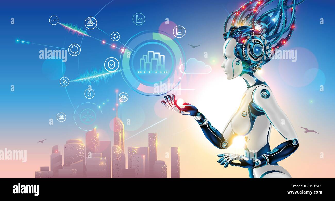 Artificial intelligence controls smart city via internet and hud interface with icons urban infrastructure. iot technology in information and communication technologies. Robot or cyborg woman with AI - Stock Image