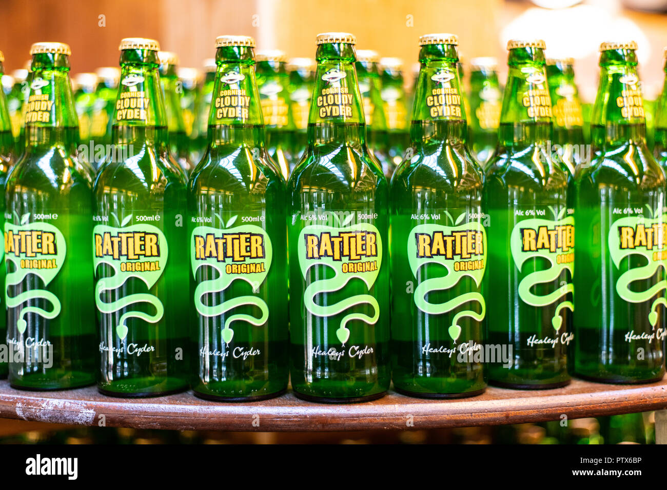 Bottles of Rattler produced by Cornish Cyder farm, Healeys. - Stock Image