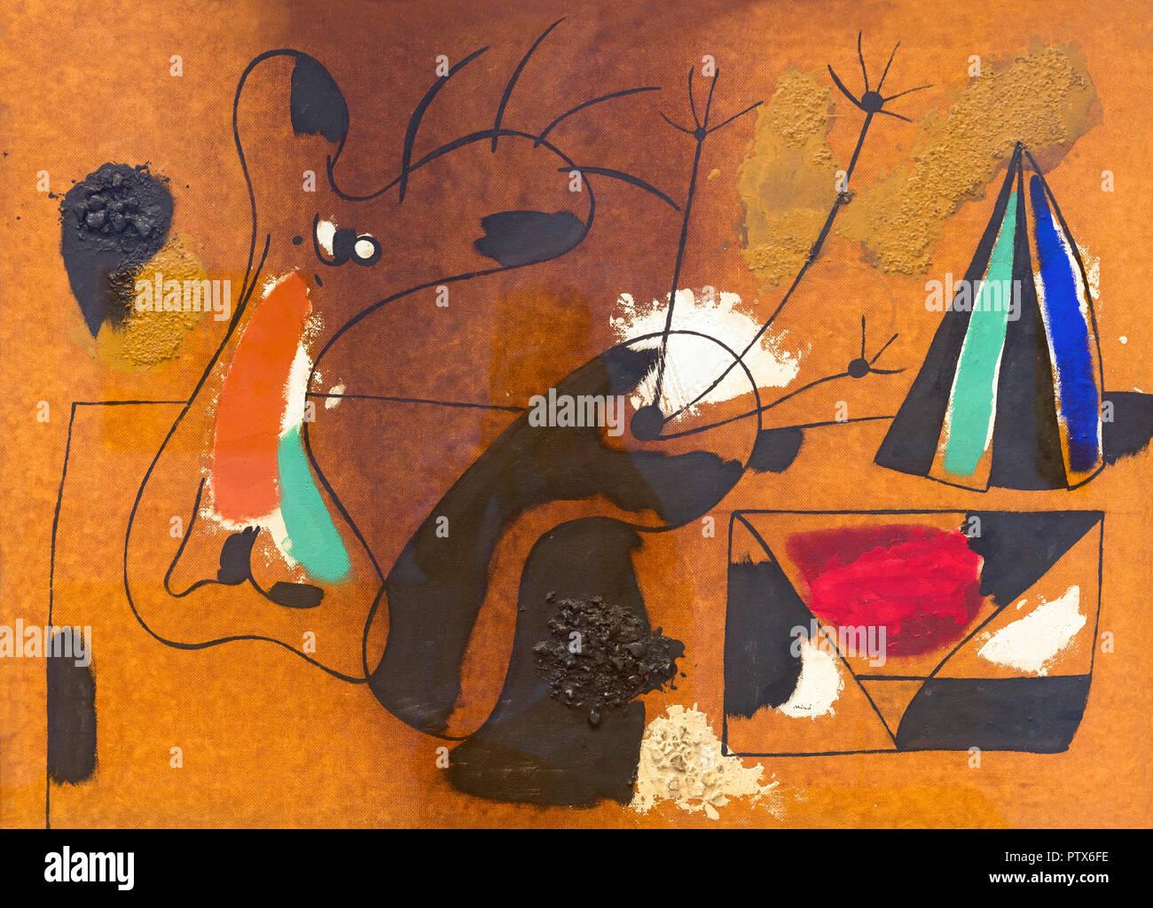 Painting, Joan Miro, 1936,Art Institute of Chicago, Chicago, Illinois, USA, North America - Stock Image
