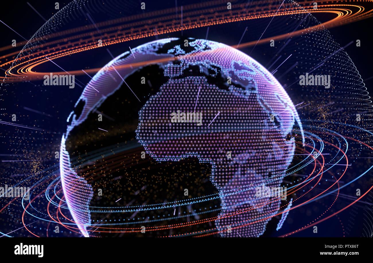 Internet, big data and information technology concept .3D illustration - Stock Image