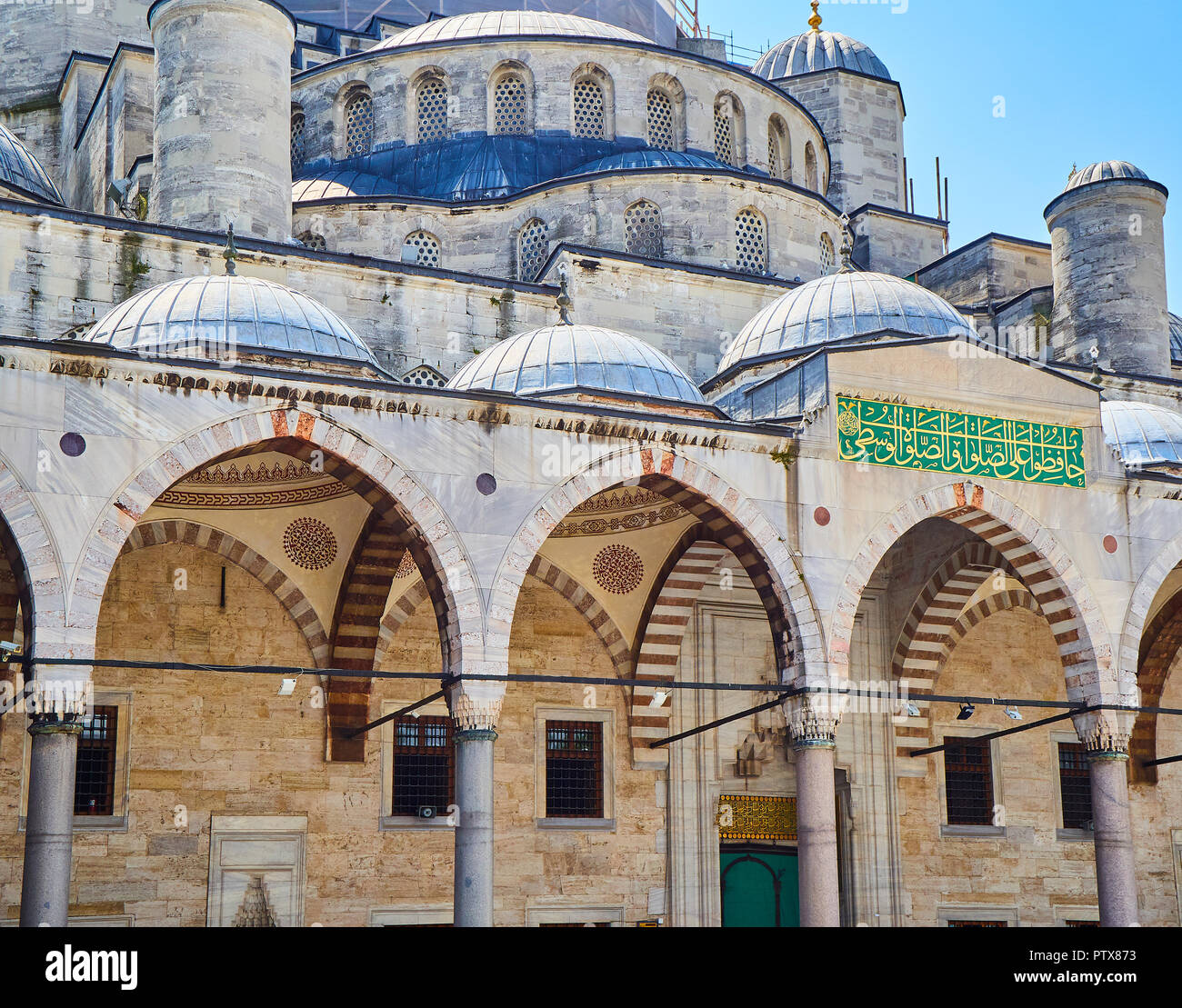 Principal entry at the arcaded courtyard to The Sultan Ahmet Camii Mosque, also known as The Blue Mosque. Istanbul, Turkey. - Stock Image