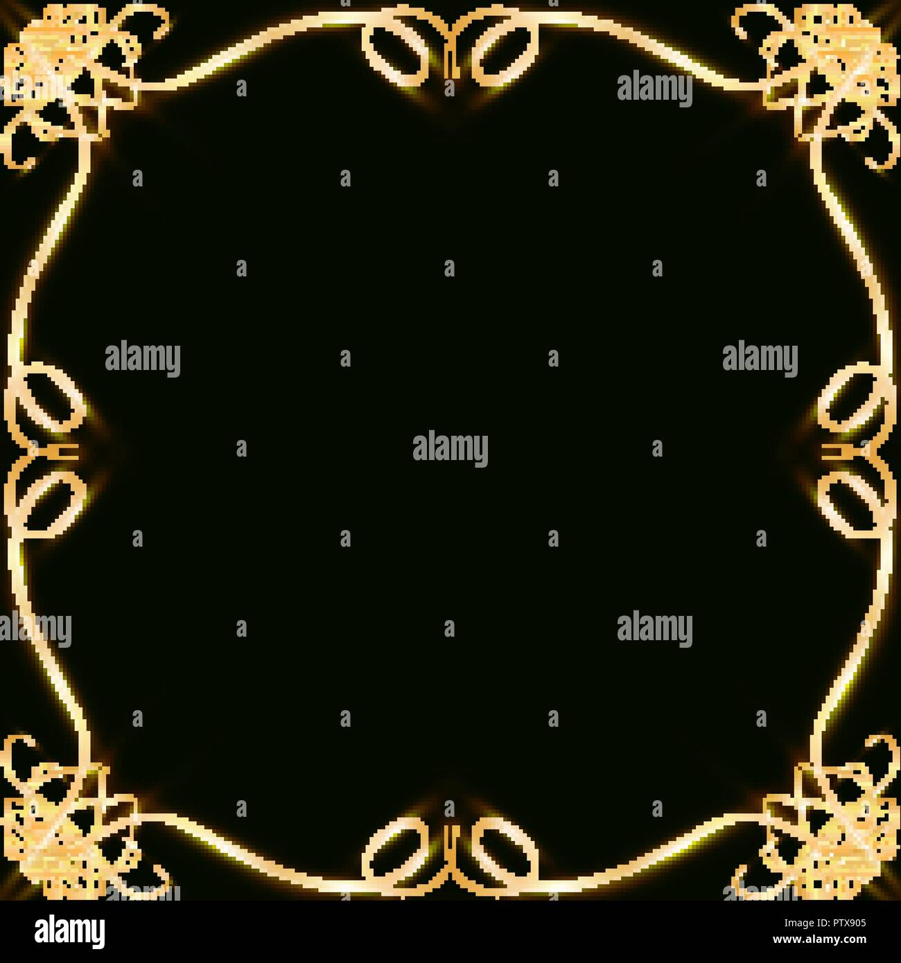 Gold Frames With Hearts With Glare And Radiance Blank For A Card