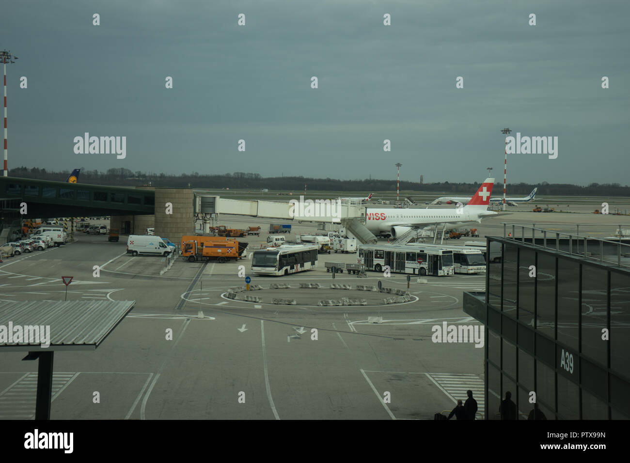 Milan Airport Italy April 2 2018 Swiss Air Plane At The Milan Malpensa Airport Stock Photo Alamy